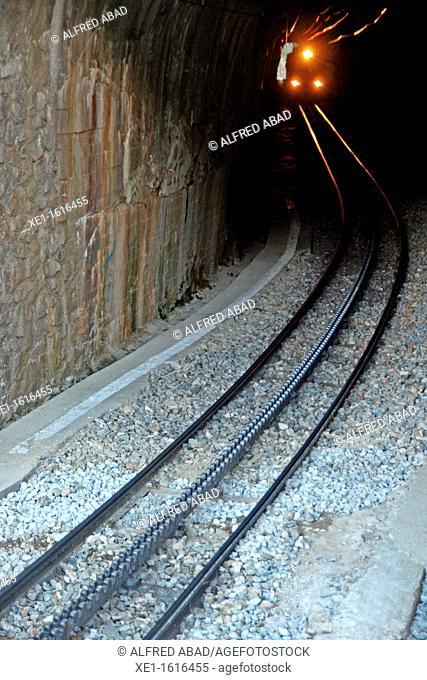 tunnel, cog railway, Vall de Nuria, Catalonia, Spain