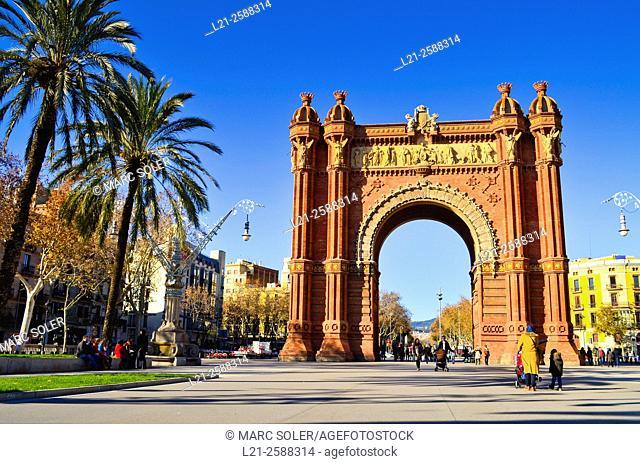 Arc de Triomf, triumphal arch. Passeig Lluis Companys, Barcelona, Catalonia, Spain