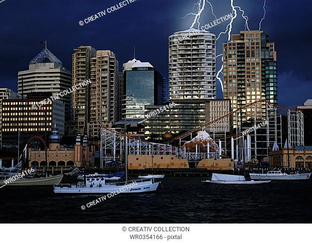 thunder and lightning at the harbour in Sydney