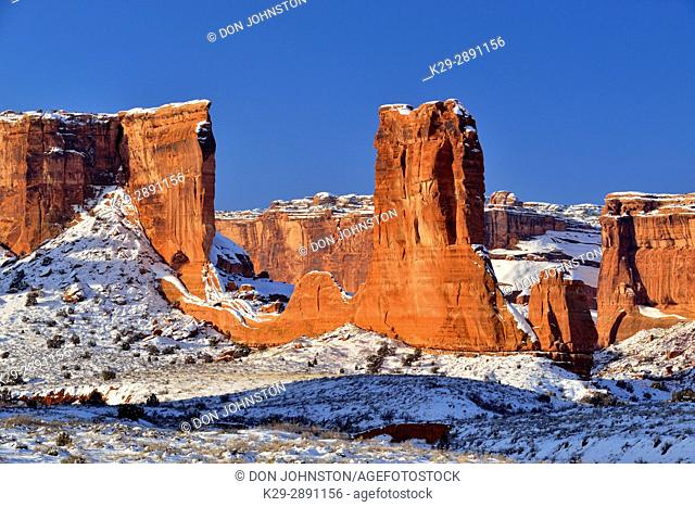 Sandstone pillars and walls in the Courthouse towers in winter, Arches National Park, Utah, USA