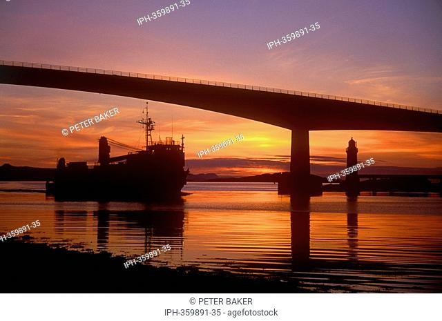 Skye Bridge over the strait of Kyle Akin at Sunset