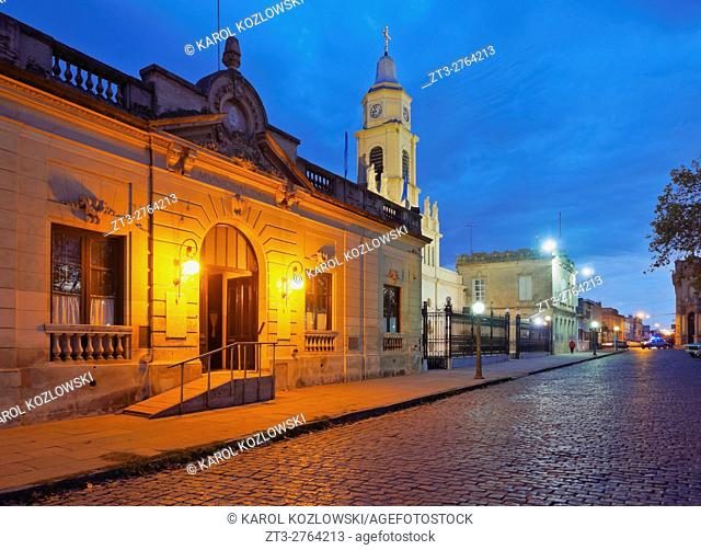 Argentina, Buenos Aires Province, San Antonio de Areco, Twilight view of the center of the town