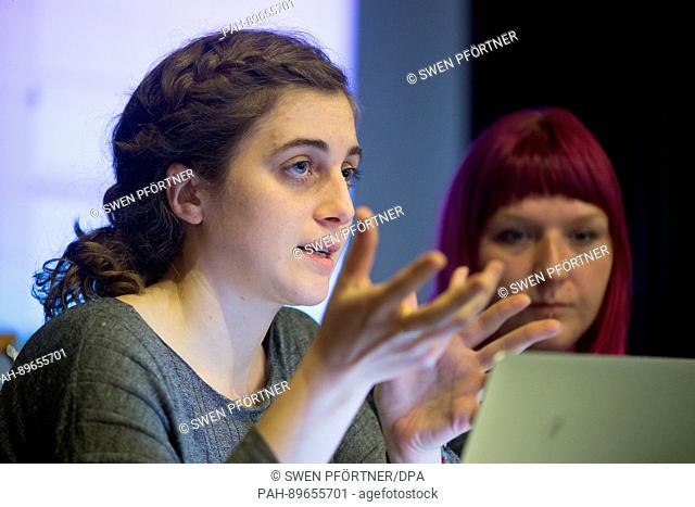 Christina Varvia (l) of the research groupo Forensic Architecture at the University of London speaks during a press conference of the initiative '6