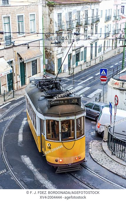 Tram in Alfama district, Lisbon, Portugal