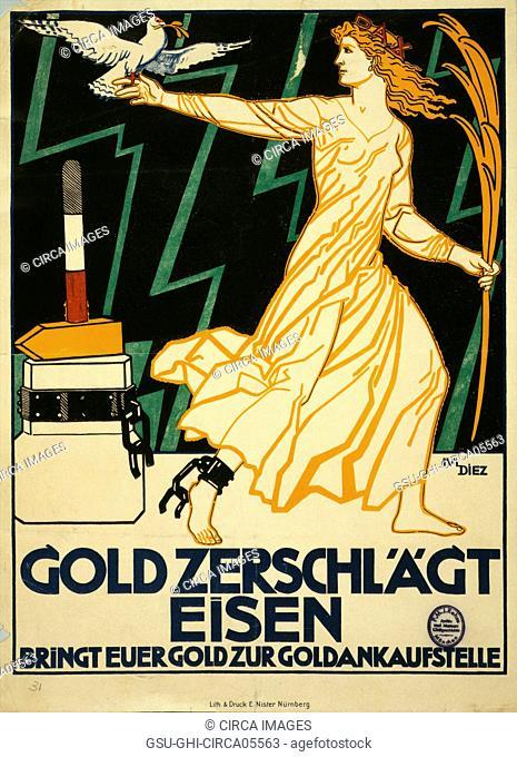 German World War I Poster, Gold Zerschlagt Eisen, Bringt Eurer Gold zur Goldankaufstelle, Artist Julius Diez, 1916