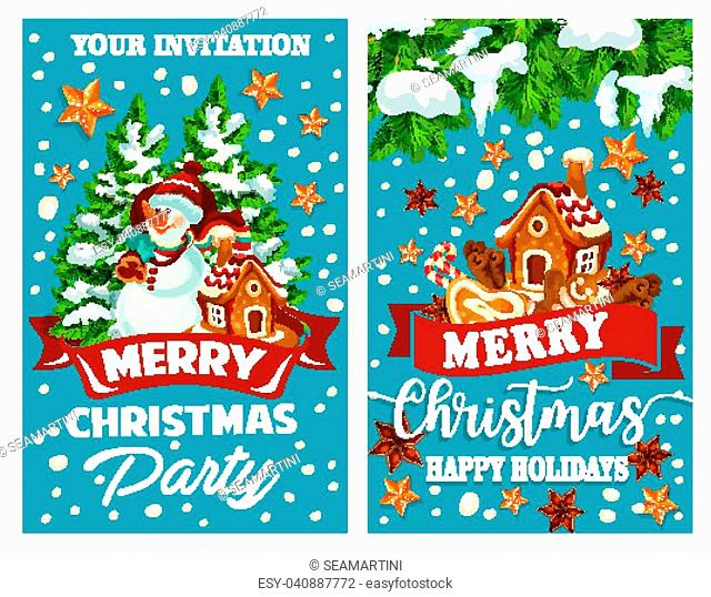 Merry Christmas wish template design for greeting card of Christmas tree decoration, snowman with Santa gift presents and gingerbread cookie house in snow
