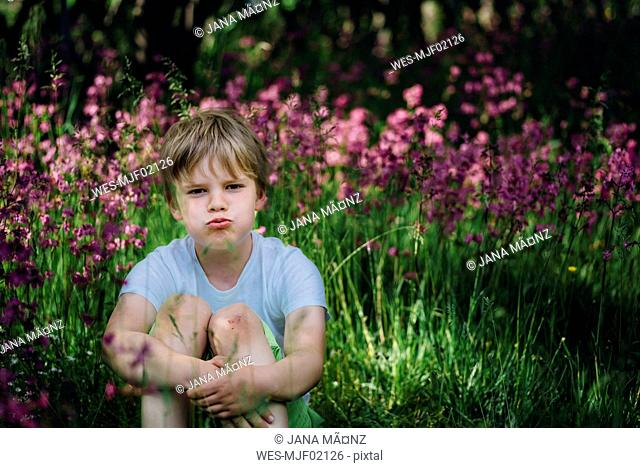 Portrait of little boy sitting on meadow in the garden pouting mouth