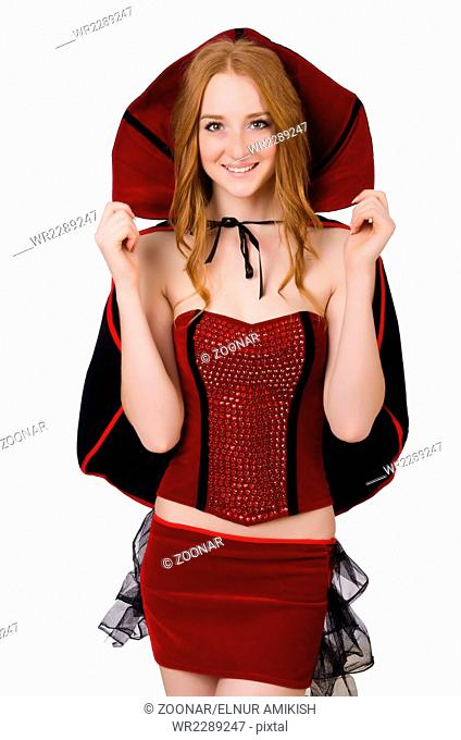 ac7219a8b932 Pretty lady in velvet bordo dress with cap isolated on white