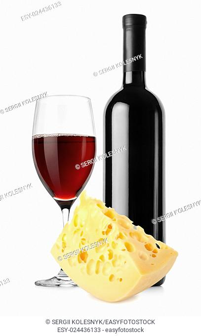 Wine bottle and dutch cheese isolated on a white background