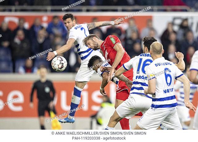 Andreas WIEGEL (DU), Lasse SOBIECH (K), Enis HAJRI (DU), Heading, Action, Football 2. Bundesliga, 26. matchday, MSV Duisburg (DU) - FC Cologne (K) 4: 4, on 10
