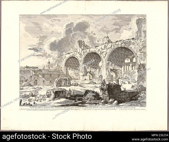 View of the Remains of the Dining Room of the Golden House of Nero, commonly called the Temple of Peace, from Views of Rome - 1750/59 - Giovanni Battista...