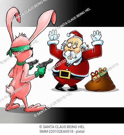 Santa Claus being held up by a bunny rabbit