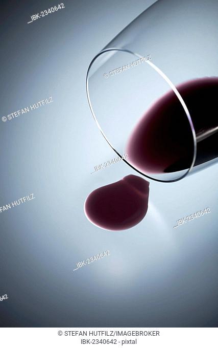 Spilt glass of wine