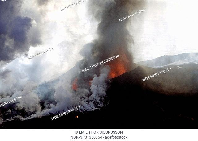 Iceland - High angle view of volcano with smoke