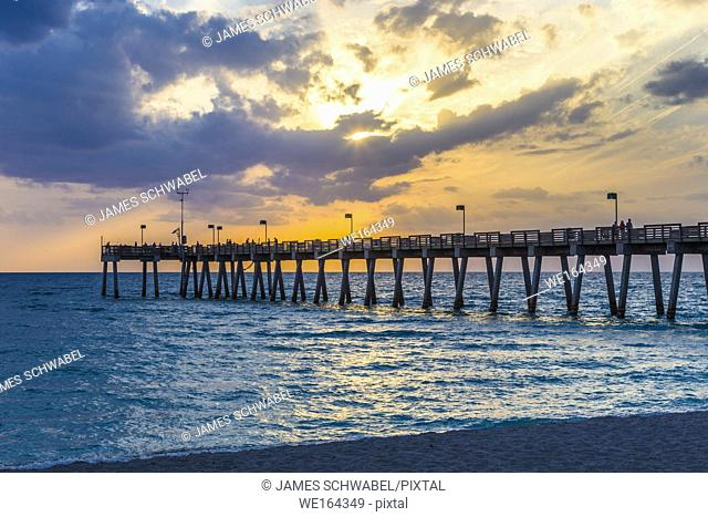Sunset over Venice Pier on the Gulf of Mexico in Venice Florida