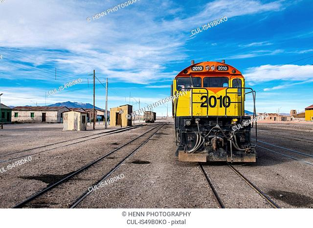 Train and train tracks, in the border town of Ollague between Chile and Bolivia, Antofagasta, Chile, South America