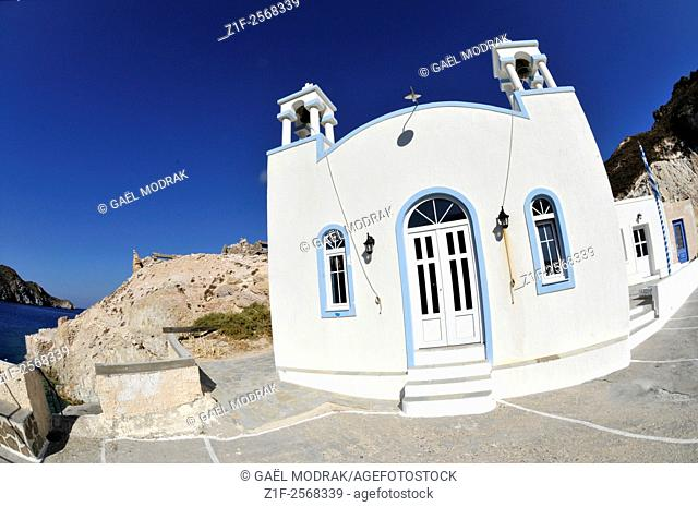 Small church in Fyropotamos on the greek island of Milos in the Cyclades