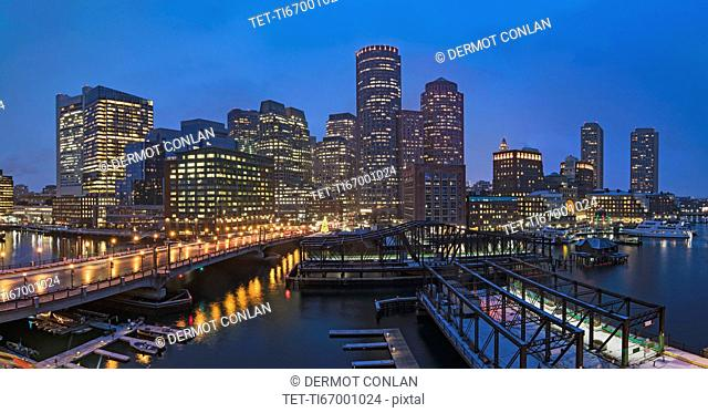 USA, Massachusetts, Boston, City waterfront panorama at dusk