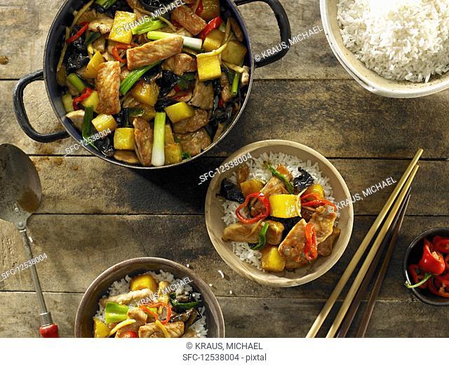 Stir-Fried Pork and Pineapple over White Rice