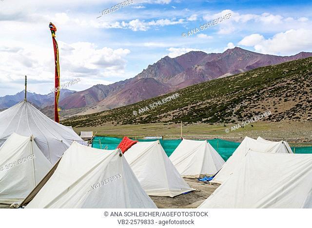 Nimaling campsite. Trekking in Markha valley (Laddakh, India)