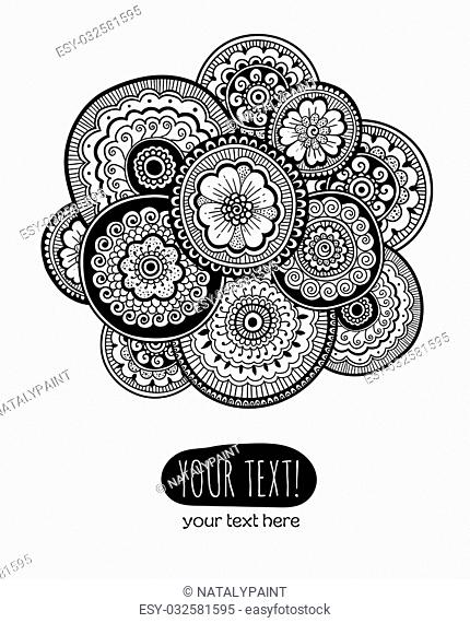 Template of greeting card with Zen-tangle ornament. Composition in mehndi style . Vector illustration
