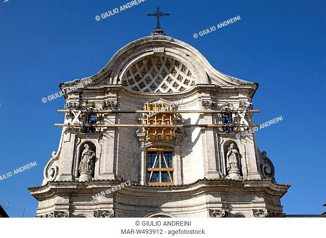 church of st maria del suffragio, damage, earthquake, 06 april 2009, l'aquila, abruzzo, italy, europe