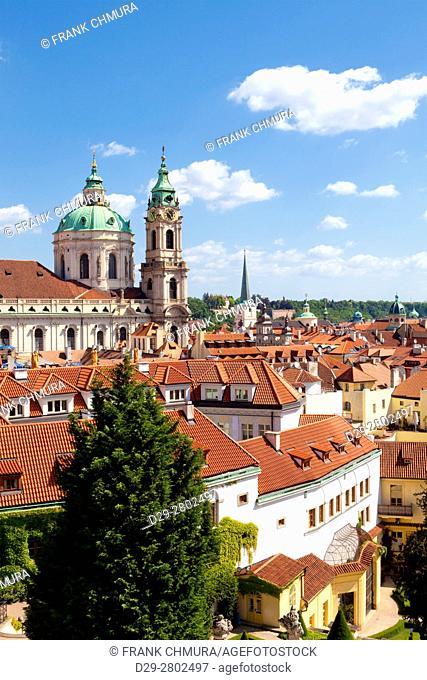 czech republic, prague - st. nicholas church and roofs of little quarter (mala strana)