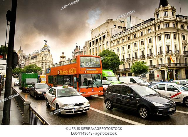 Trafic in Gran Via, Madrid, Spain