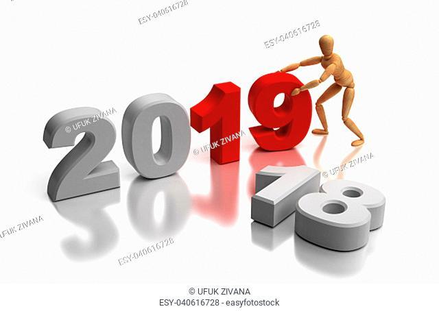 New Year 2019 (isolaten on white background)