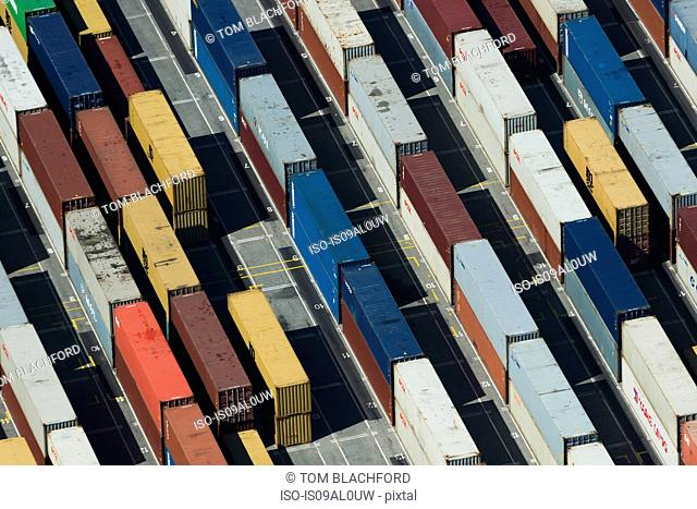Aerial view of stacked cargo containers, Port Melbourne, Melbourne, Victoria, Australia