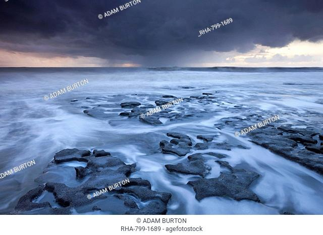 Storm approaching the shores of Dunraven Bay on Glamorgan's Heritage Coast, Wales, United Kingdom, Europe