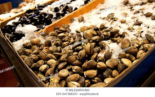 Seattle, Washington, USA - March 1, 2015 Fresh seafood display at Pike Place Public Market in Seattle
