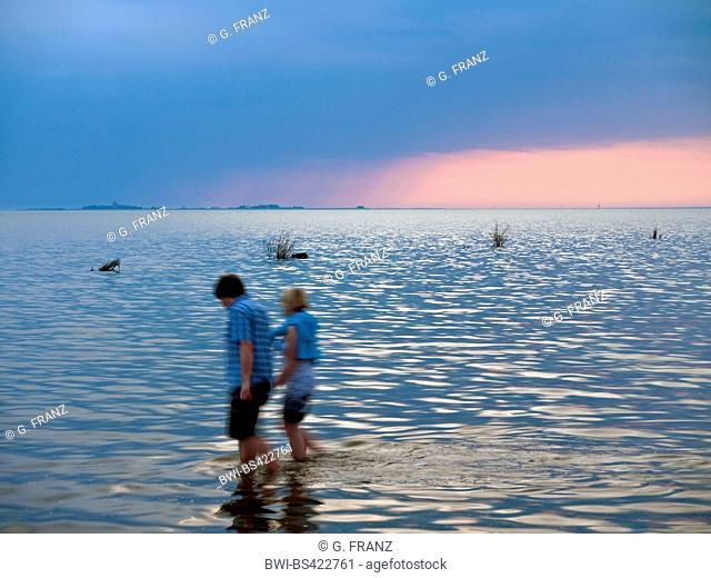 couple in the waddensea, island of Neuwerk in the background, Germany, Hamburgisches Wattenmeer National Park