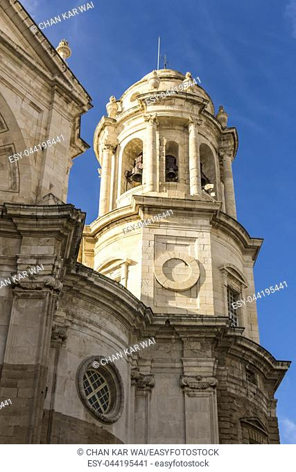 Facade of Cadiz Cathedral bell tower. It was built between 1722 and 1838