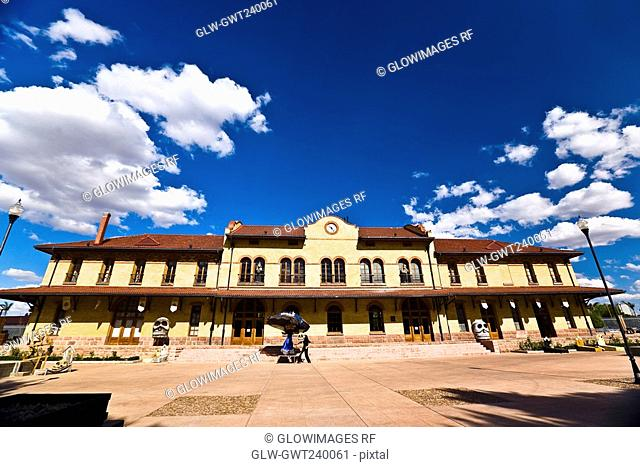 Low angle view of a railroad station building, Three Centuries Memorial Park, Aguascalientes, Mexico