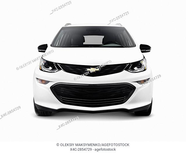 White 2017 Chevrolet Bolt EV electric car front view isolated on white background with clipping path