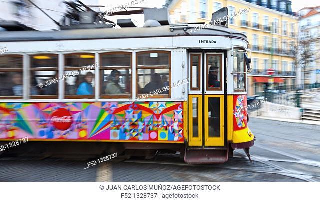 Tram 28, Chiado district, Lisbon, Portugal