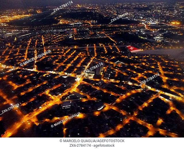 Aerial night view of Sao Paulo City. Brazil, South America