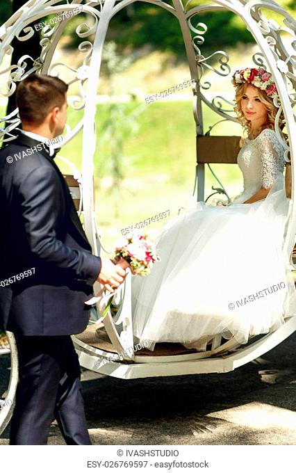 Fairy-tale cinderella wedding carriage magical wedding couple bride and groom in park