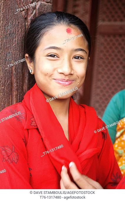 portrait of a young girl in Durbar Square, Kathmandu, Nepal