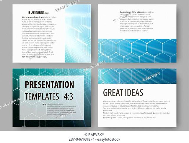 Business templates for presentation slides. Easy editable vector layouts. Chemistry pattern, hexagonal molecule structure, scientific or medical research