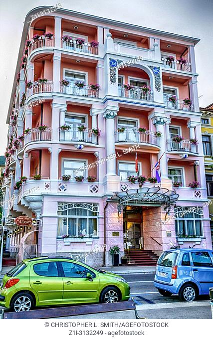 The pink painted Hotel Mozart in Opatija, Croatia