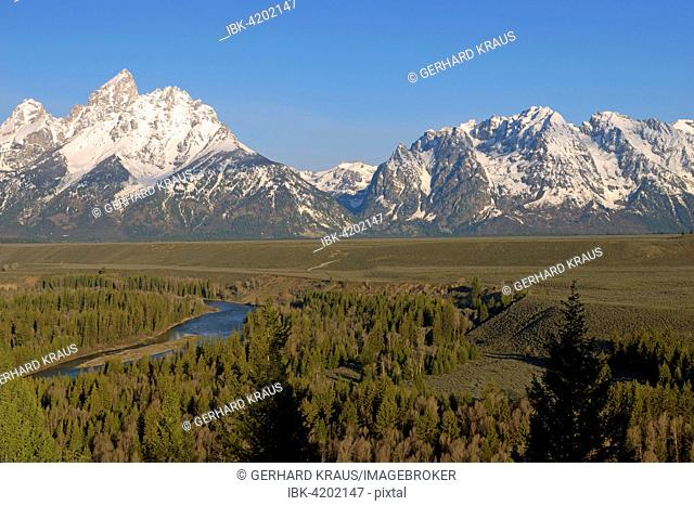 Teton Range, Grand Teton, front Snake River, Grand Teton National Park, Wyoming, USA