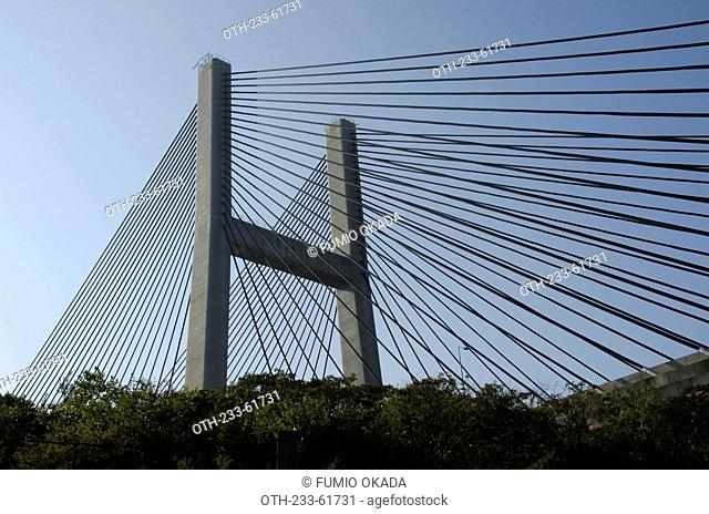 Overlooking Tsing Ma Bridge from Ma Wan, Hong Kong