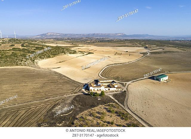 Casa de Labor de Las Encebras y el Mugrón, drone view. Almansa, Albacete province, Spain