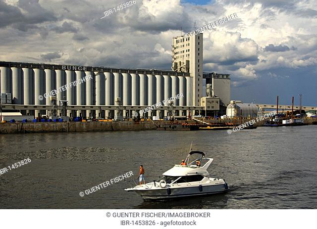 Port bason on the St. Lawrence River with a grain silo of the Bunge, Port of Quebec City, Quebec, Canada