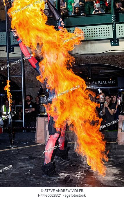 England, London, London Tattoo Convention, Fuel Girls Fire and Pyrotechnics Show