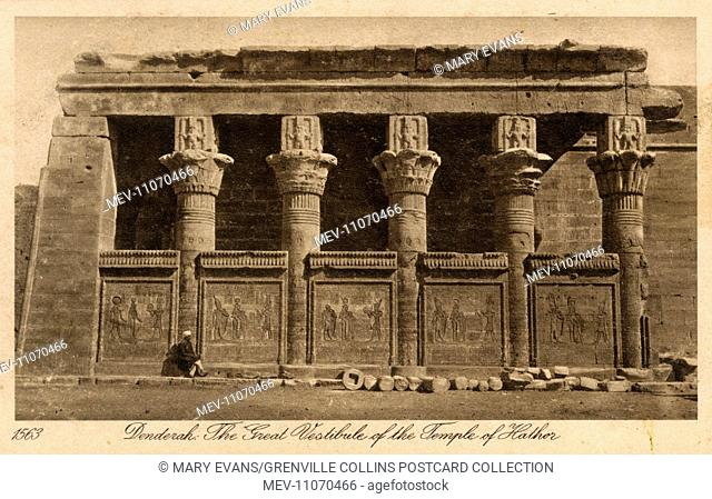 The Great Vestibule ('Offering Hall') of the Temple of Hathor at Dendera - Egypt, North Africa - Card series (5/8)