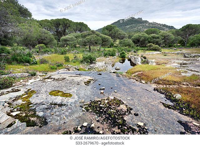Muñana cliff from Halcon cliff in Cadalso de los Vidrios. Madrid. Spain. Europe