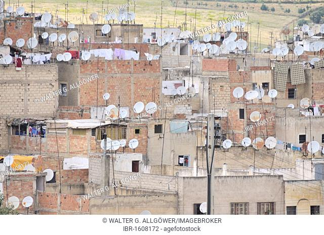 Houses with satellite dishes, old town, Medina of Fez, Morocco, Africa